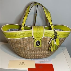 Coach Straw XL Tote Very Rare Limited Edition